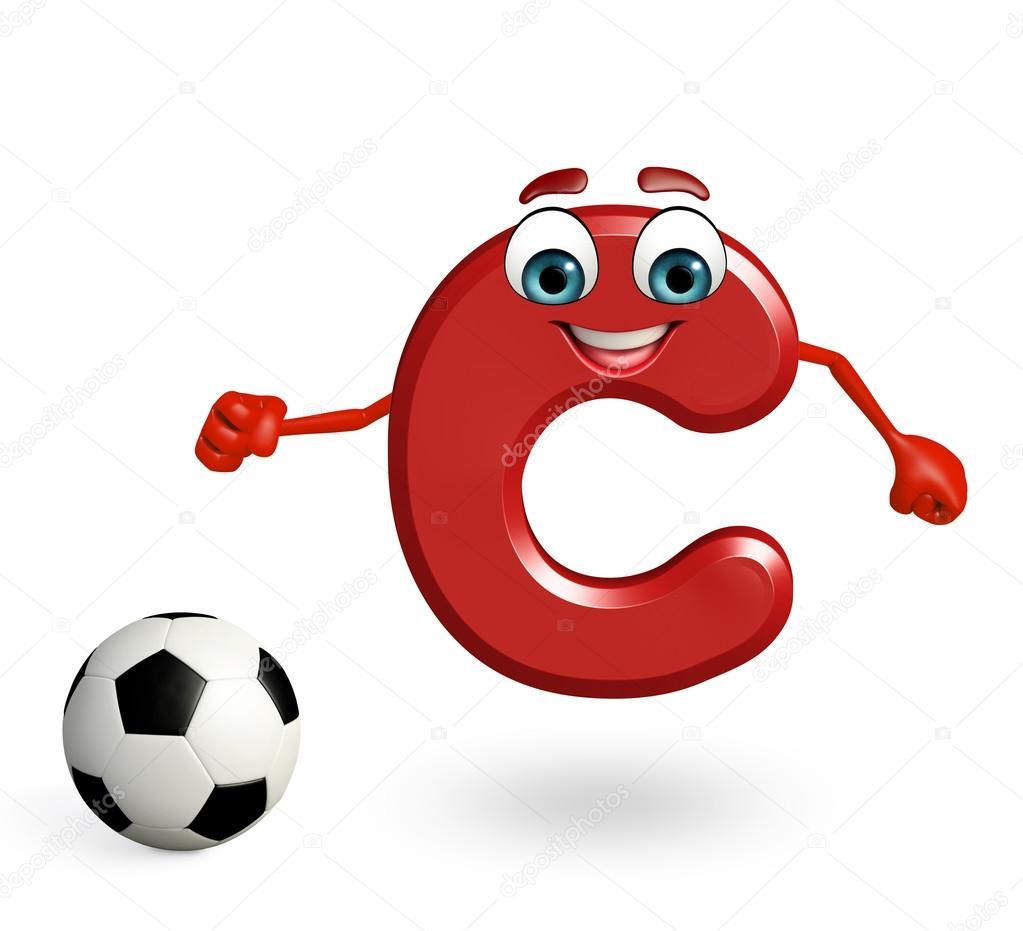 personagem de desenho animado do alfabeto c com futebol stock