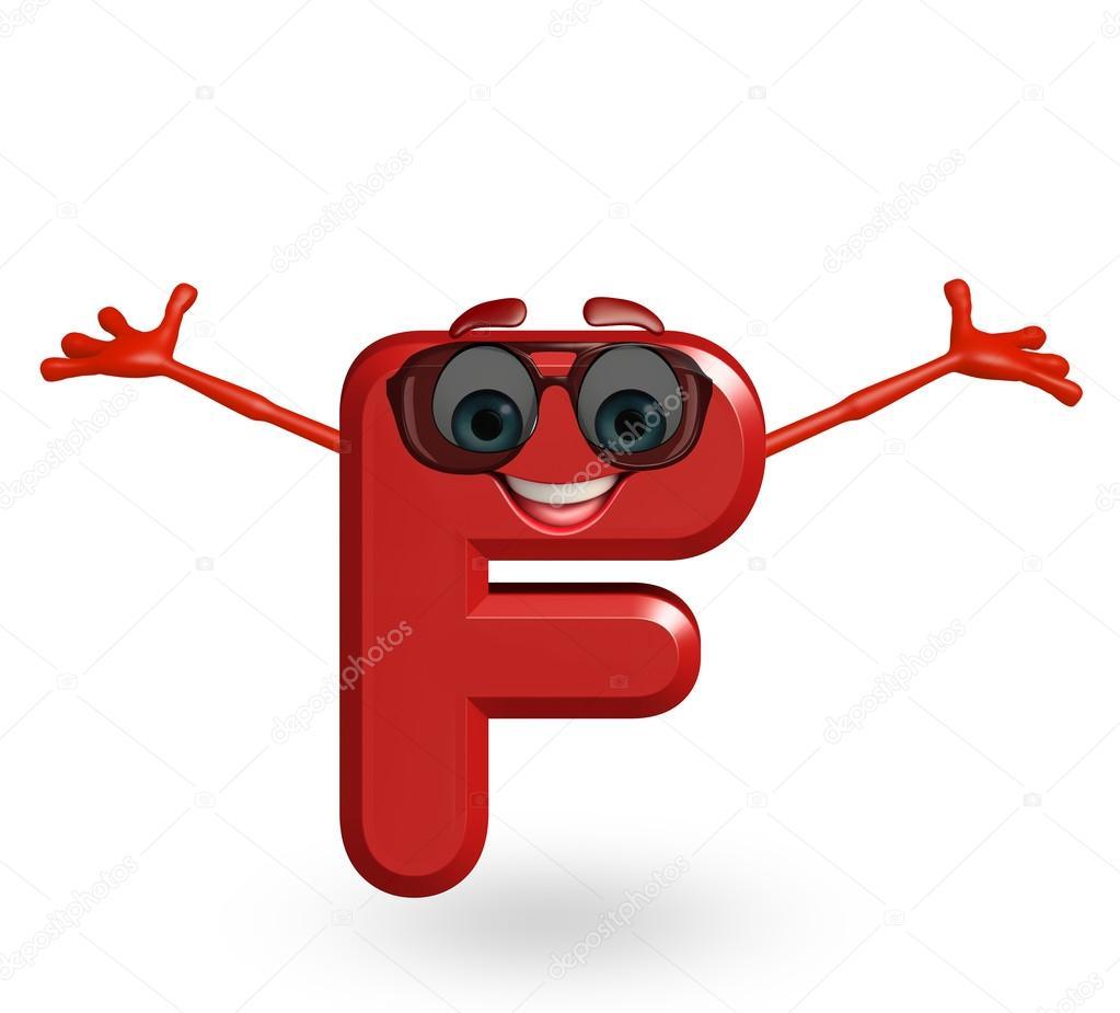 Personaggio dei cartoni animati dell alfabeto f con occhiali