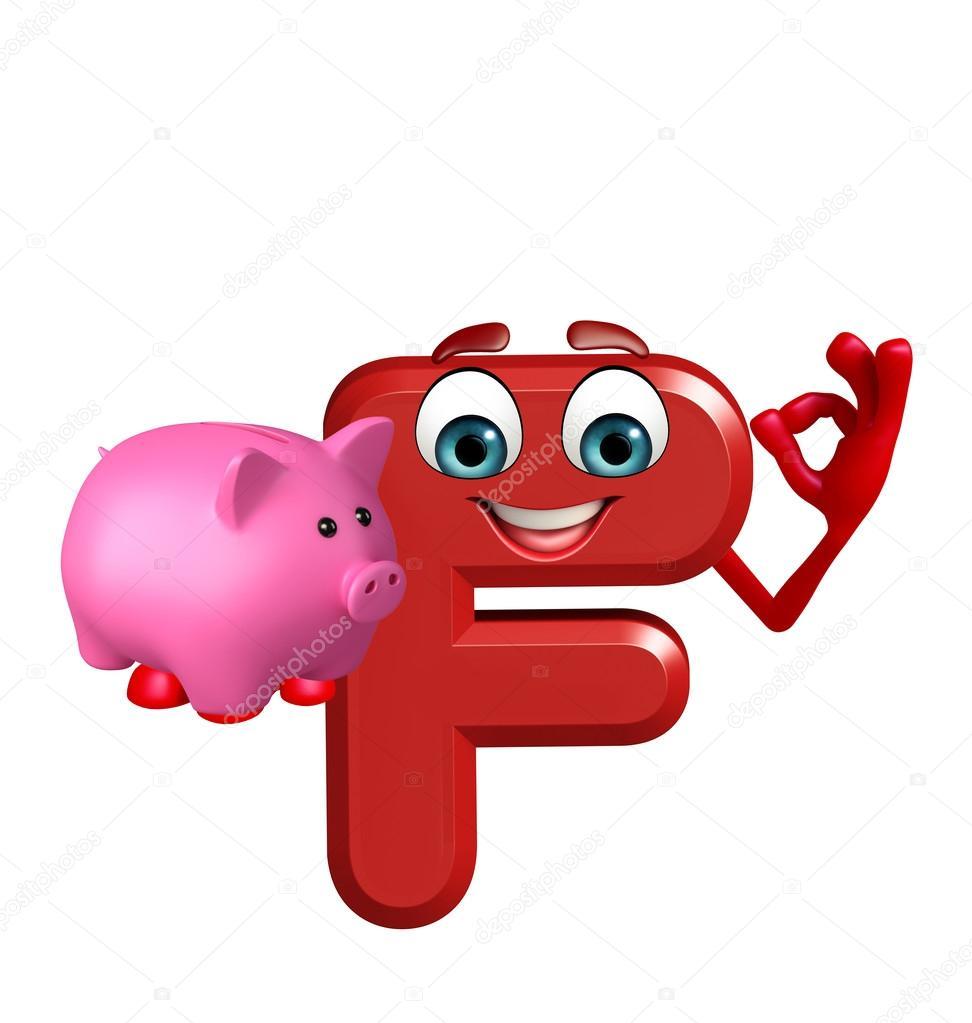 Personaggio dei cartoni animati dell alfabeto f con la banca piggy