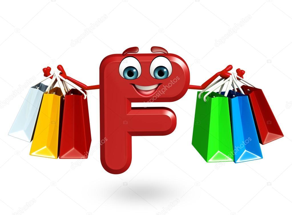 Personaggio dei cartoni animati dell alfabeto f con il sacchetto
