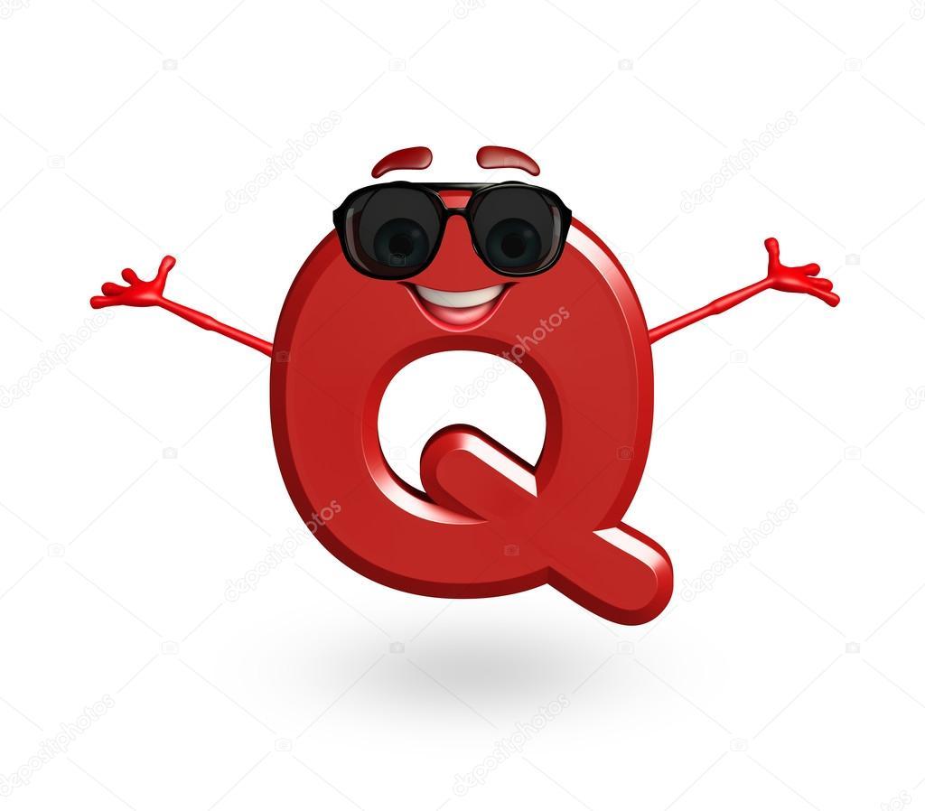Personaggio dei cartoni animati di alfabeto q con occhiali u2014 foto
