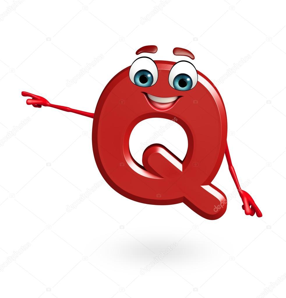 Personaggio dei cartoni animati di alfabeto q u foto stock