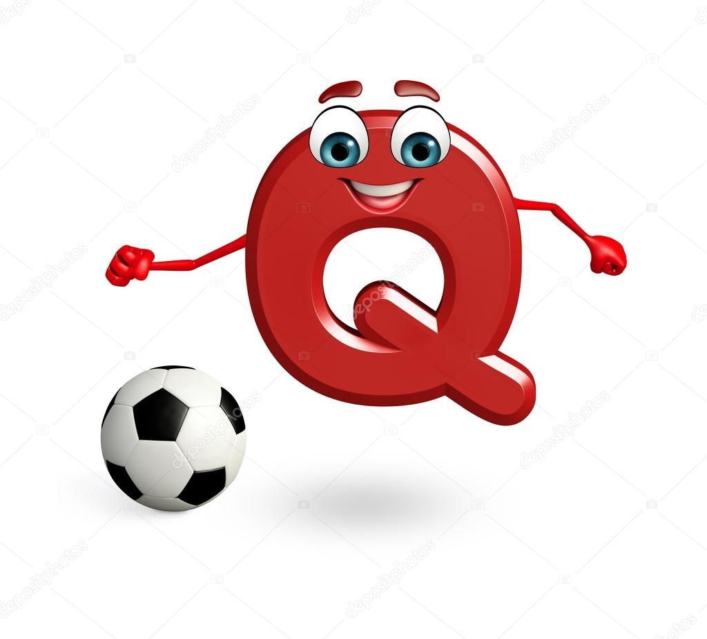 Personaggio dei cartoni animati di alfabeto q con calcio u2014 foto