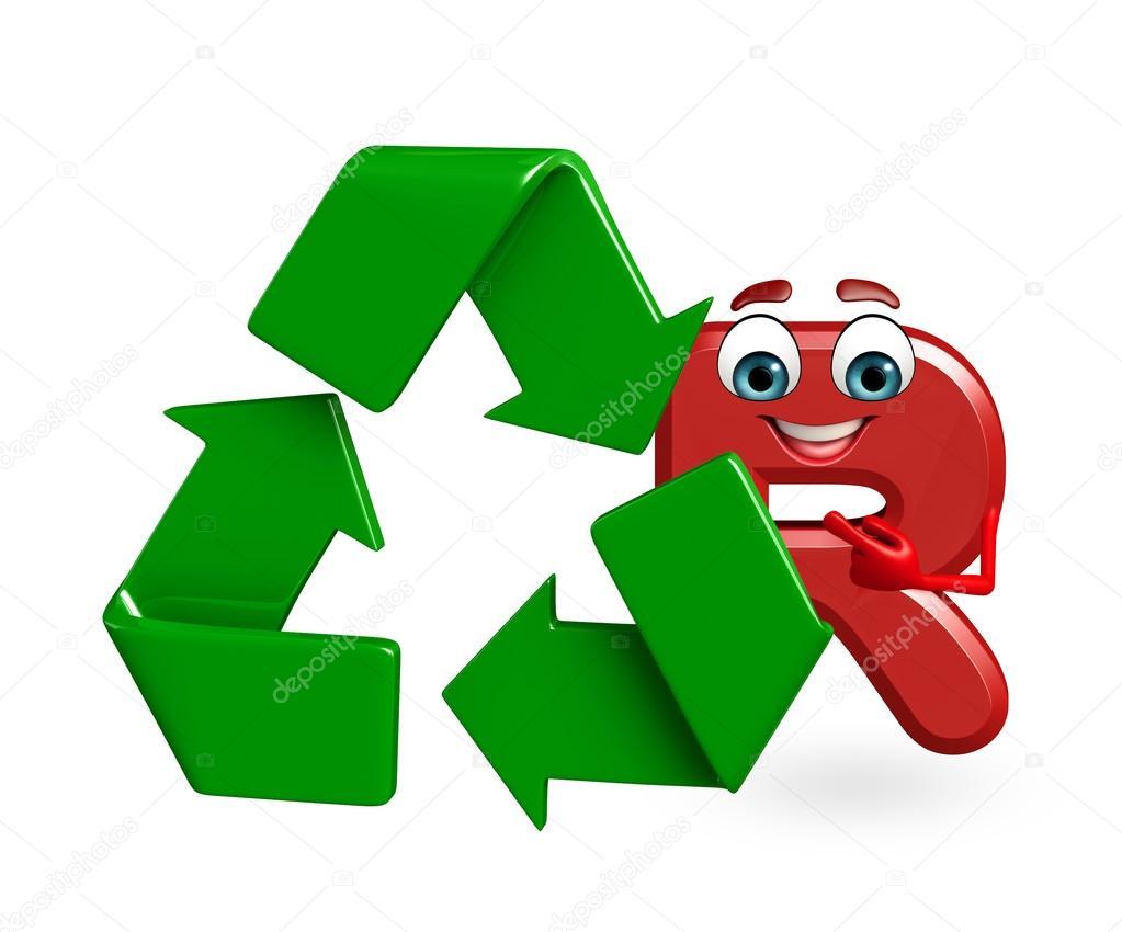 Personaje De Dibujos Animados Del Alfabeto R Con Reciclaje