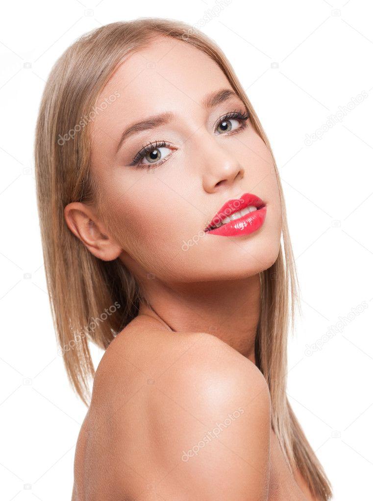 Hermosa rubia chupandola