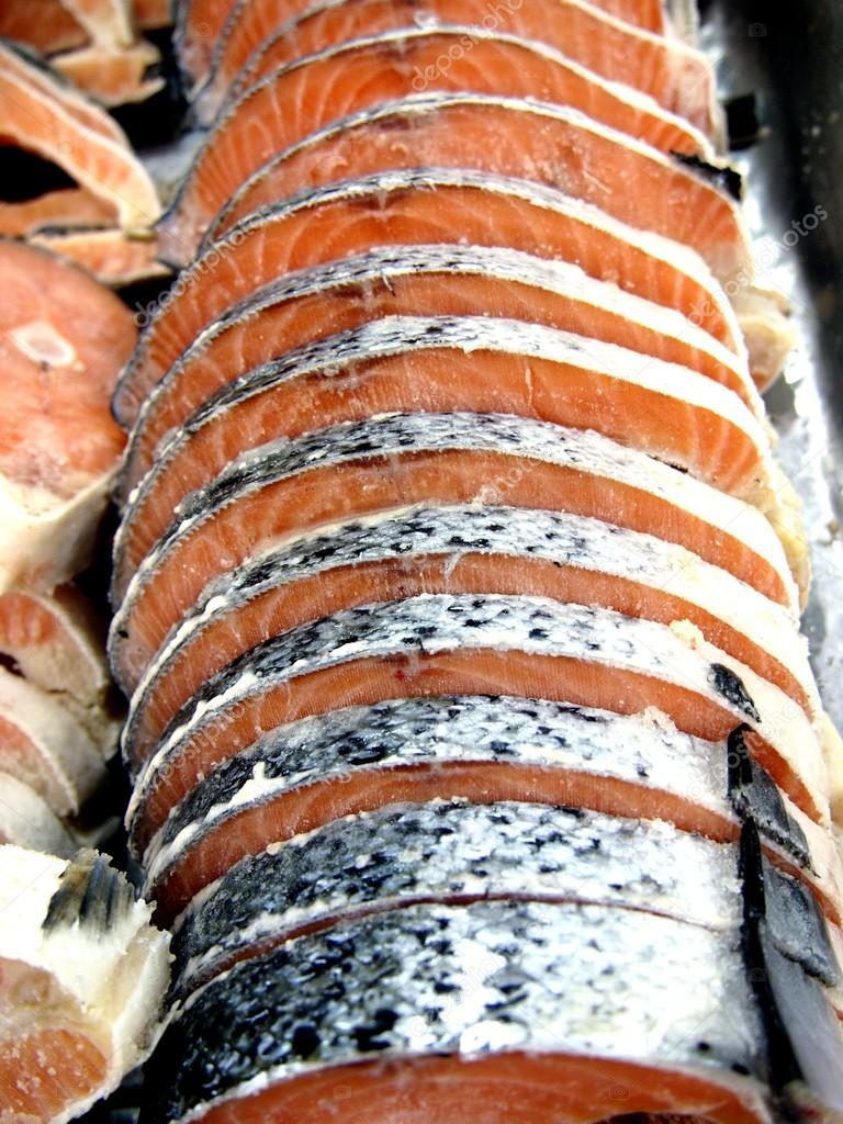 Sliced fresh raw salmon