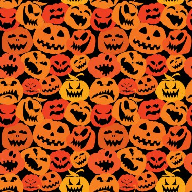 Halloween seamless pattern with pumpkins faces - different emotions cartoons - backgrounds in orange and black colors clip art vector