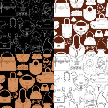 Set of seamless patterns with woman bags and handbags. Ready to
