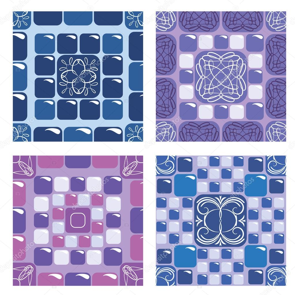 Set Of Seamless Mosaic Patterns Blue And Purple Ceramic Tiles