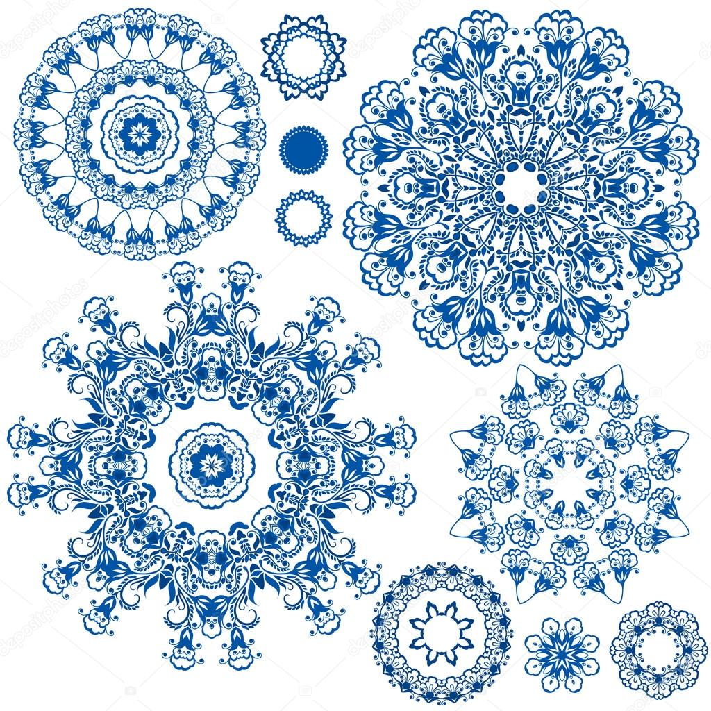 Set of  blue floral circle patterns. Background in the style of