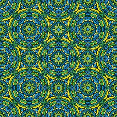 Squared background - ornamental seamless pattern in green, blue