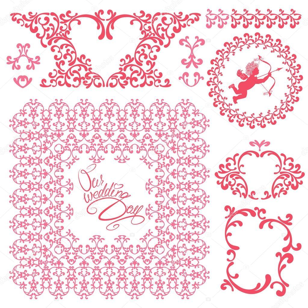 Wedding invitation set with pink floral elements frames border