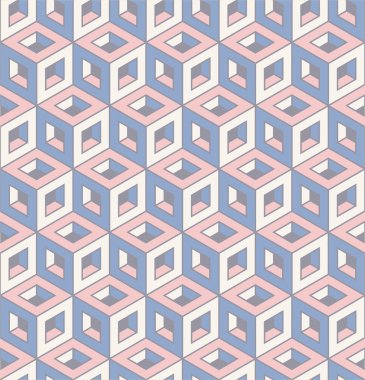 seamless pattern of colourful isometric cubes.
