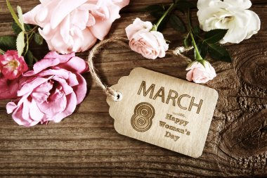 Womans Day message with rustic pink roses