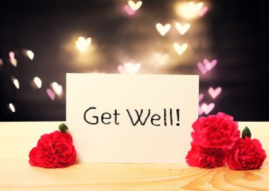 Get Well message card with carnation flowers