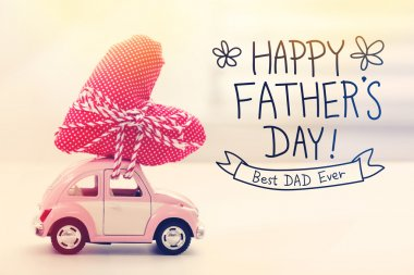 Happy Fathers Day message with miniature car