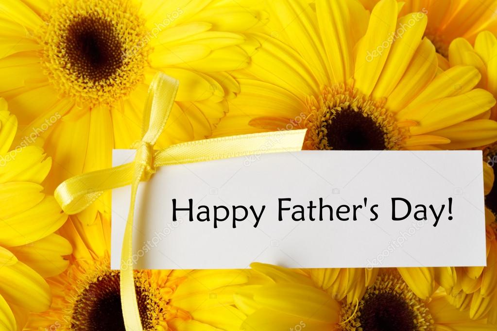 Fathers day card with yellow gerberas