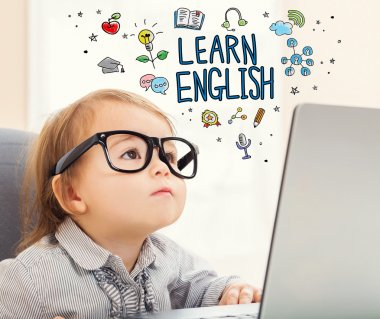 Learn English concept with toddler girl