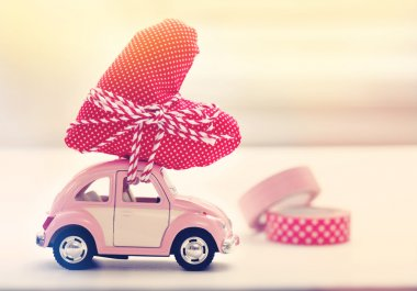Miniature car carrying heart cushion