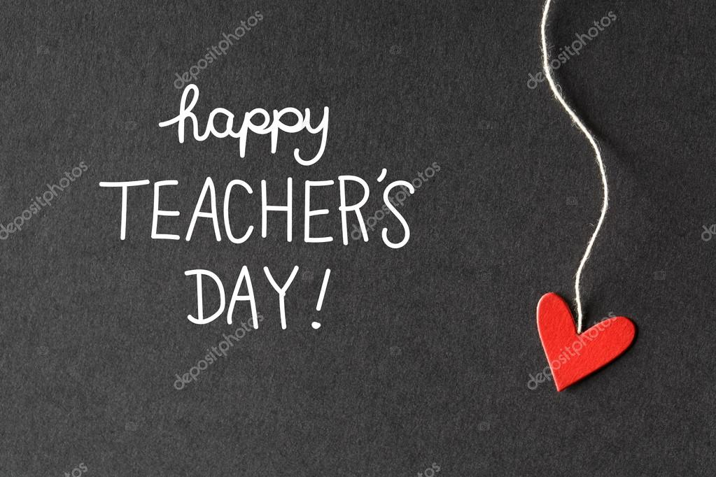 Happy Teachers Day message with paper hearts