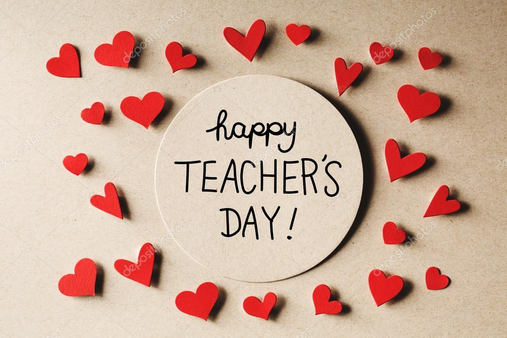 happy teachers day message with small hearts stock photo