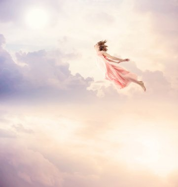 Girl in a pink dress flying in the sky. Serenity. stock vector