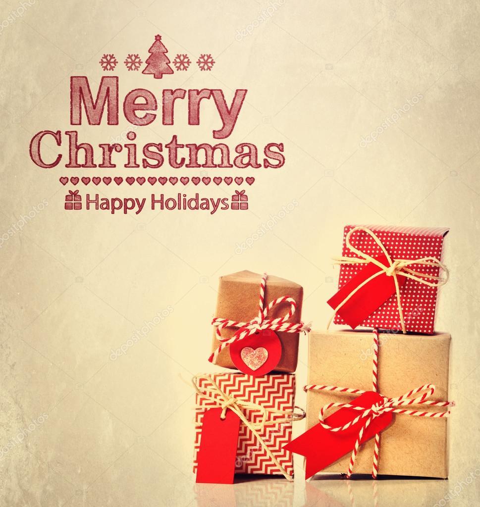 Frohe Weihnachten-Nachricht mit Geschenkboxen — Stockfoto ...
