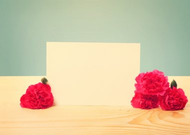 Blank Greeting Card with Carnation Flowers