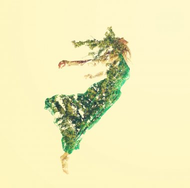 Woman flying with leaves
