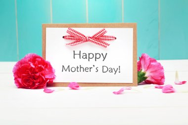 Mothers day card with pink carnations