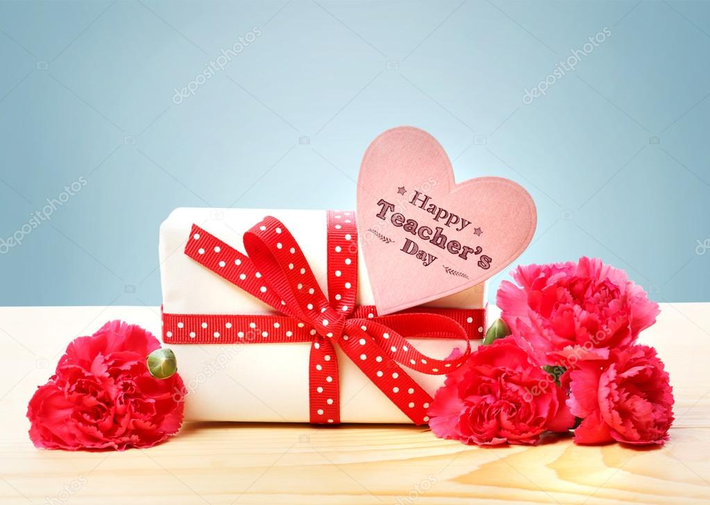 happy teachers day message with gift box stock photo
