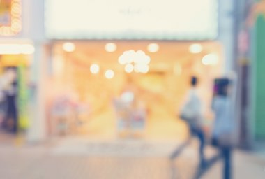 Blurred shopping mall store