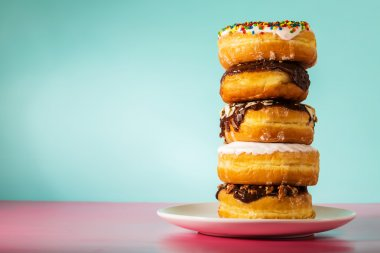 Stack of assorted donuts