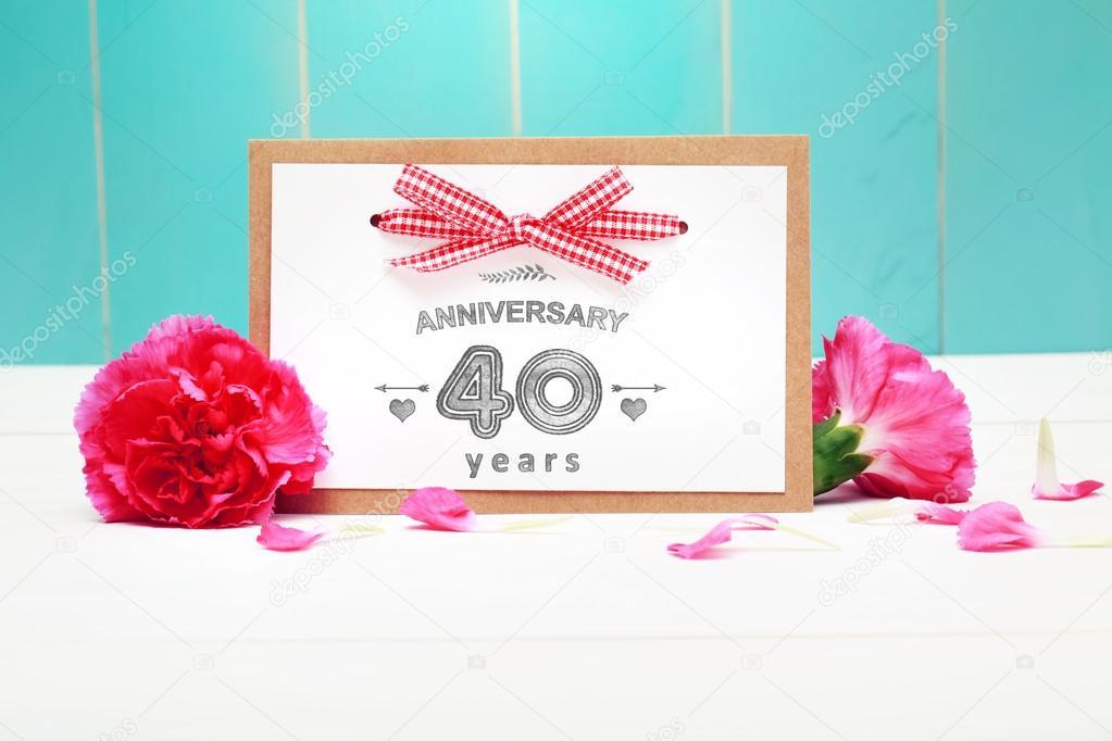 40 year anniversary message card stock photo melpomene 82249342 40 year anniversary celebratory hand made message card with carnations photo by melpomene m4hsunfo