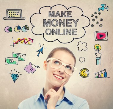 Make Money Online idea sketch with business woman