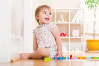Toddler girl playing with wooden toy blocks