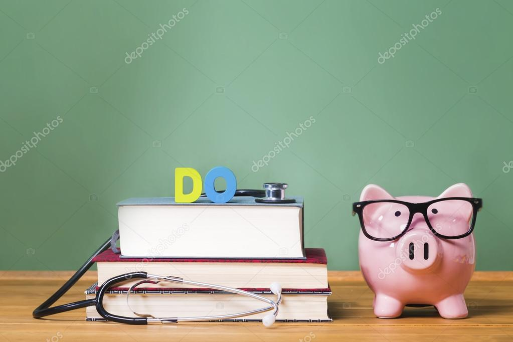 Doctor of Osteopathic Medicine DO theme with piggy bank