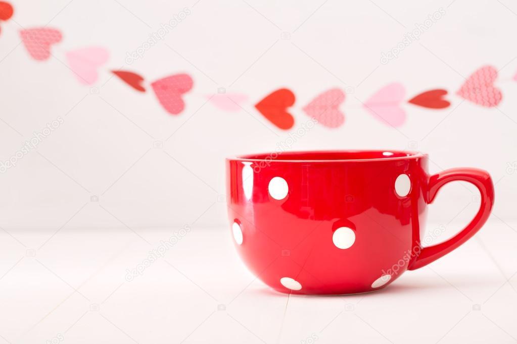 — Rouge Gros Le Cœur Et Photographie De Tasse Café Guirlande 6yf7Ygb