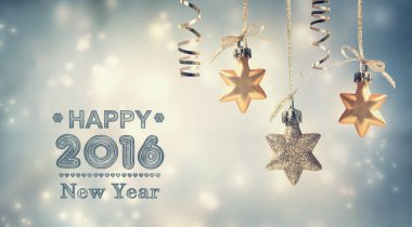 Happy New Year 2016 message with hanging stars