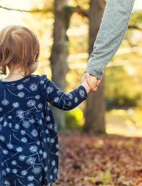 Toddler girl holding hands with her mother on a fall day