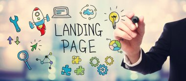 Businessman drawing Landing Page concept