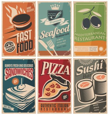 Vintage collection of food and restaurants posters stock vector