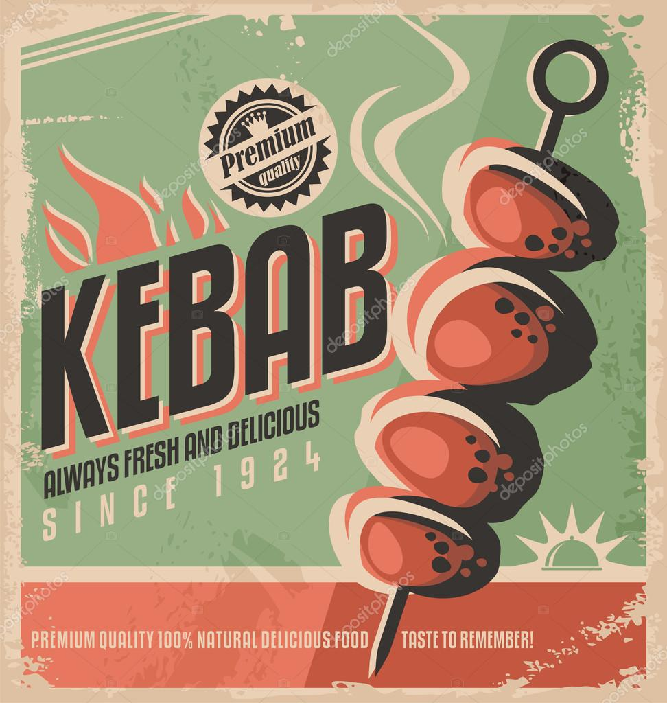 Kebab retro poster design
