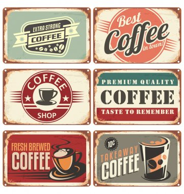 Set of vintage coffee tin signs. Retro coffee shop design concept on old metal background. stock vector