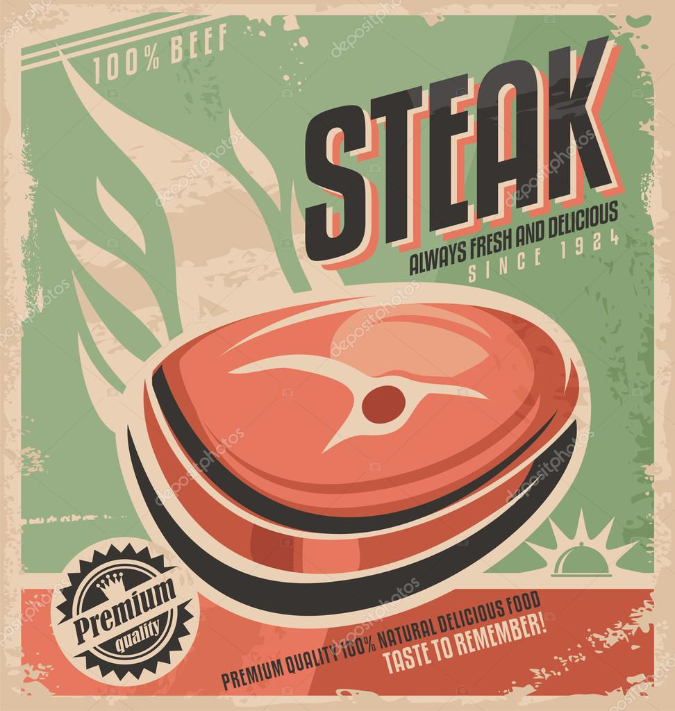 Steak Retro Poster Design Stock Vector C Lukeruk 59318947