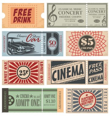Retro Tickets and Coupons