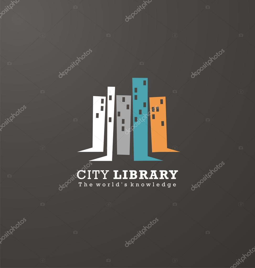 Bookshelves As City Scape Creative Design Concept. Logo Design Idea For  Library Or Book Store. Vector Symbol With Buildings Shapes.