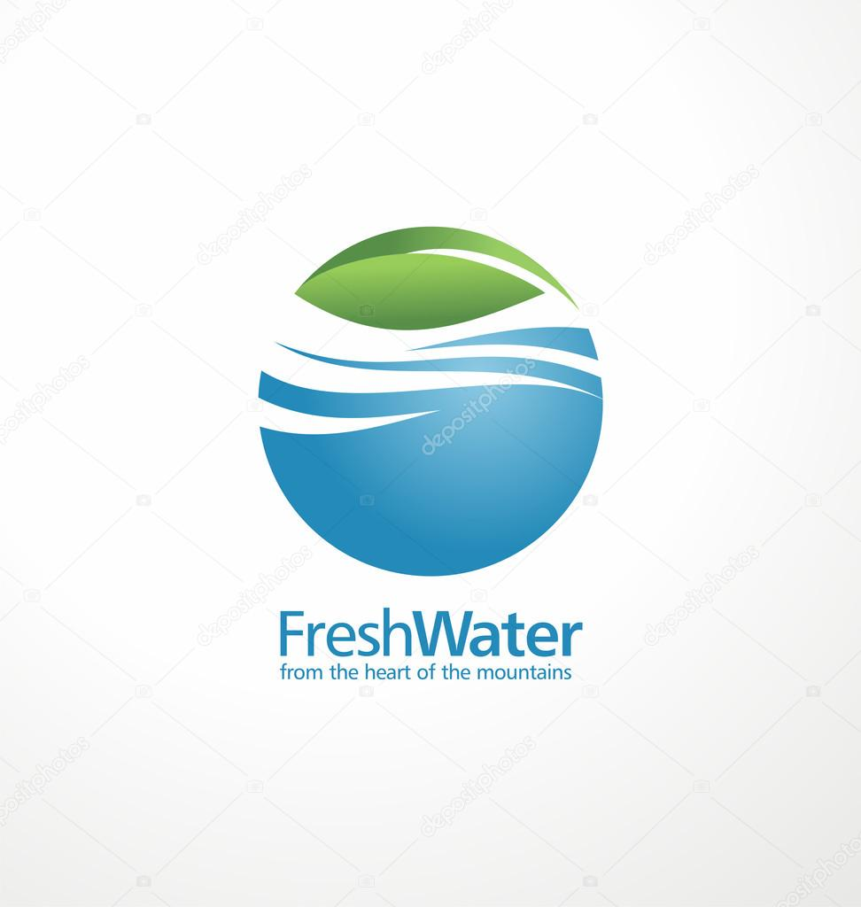 Fresh water and leaf creative logo design
