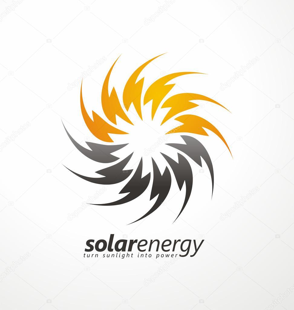 Solar energy logo design concept.