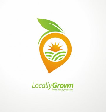 Locally grown food from local farmers vector label template